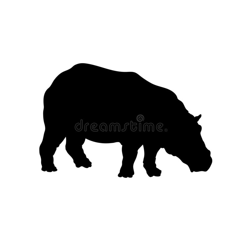Black silhouette of hippopotamus on white background. Isolated hippo icon. Wild african animals vector illustration