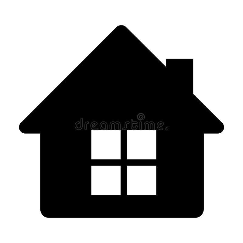 black silhouette of house side view in white background stock illustration