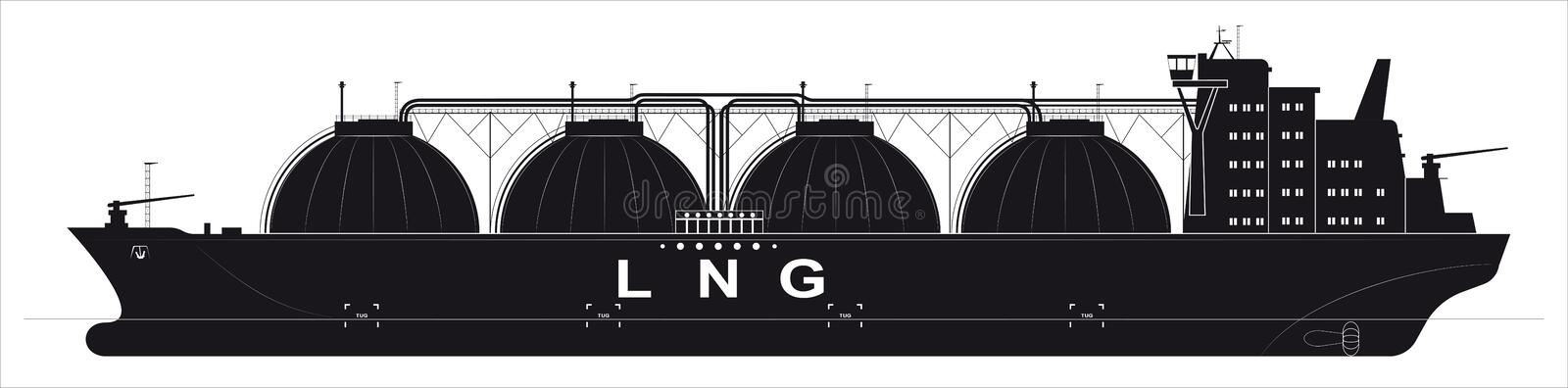 Black silhouette of a huge ocean tanker for liquefied gas. Traced details. Side view. Black silhouette of a huge ocean tanker for liquefied gas. Traced details stock illustration