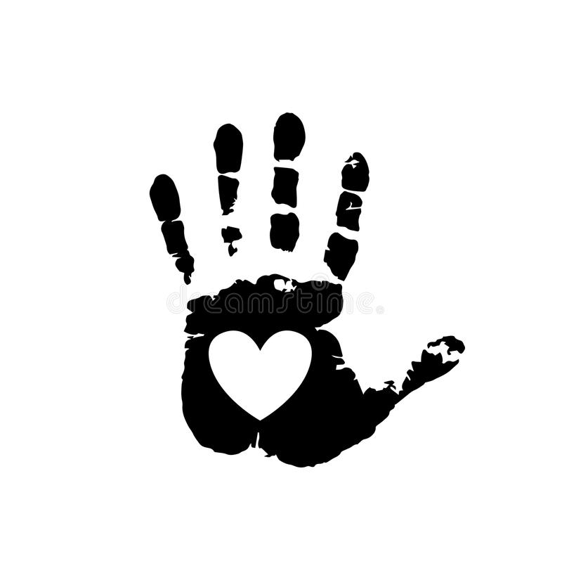 Black silhouette of human hand print with heart symbol. In open palm isolated on white background. Vector monochrome illustration, icon, logo, clip art. White royalty free illustration