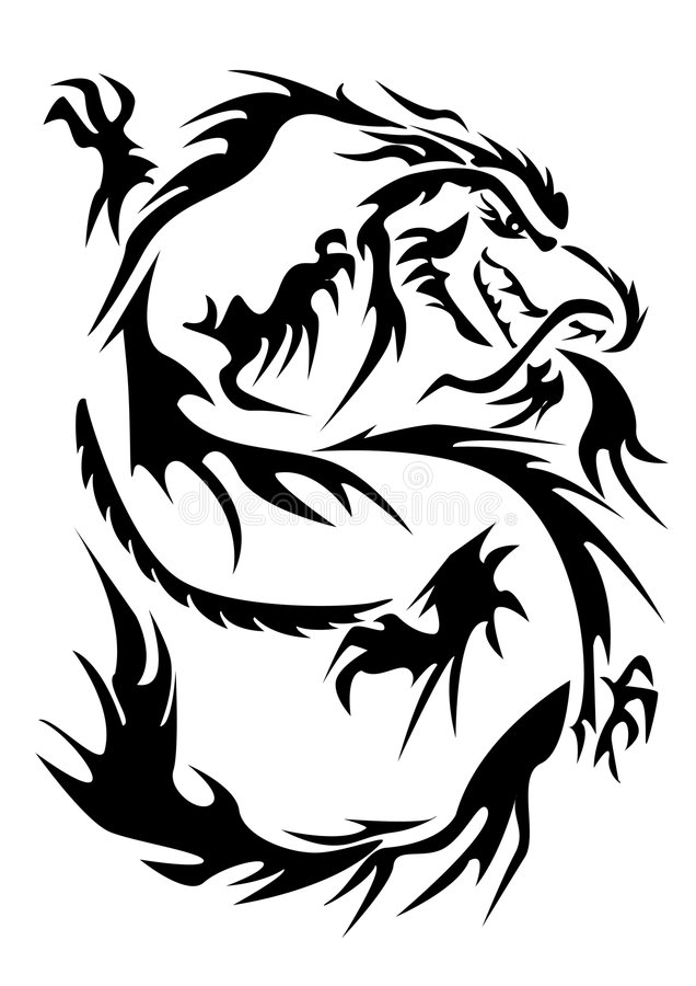 Black Silhouette - An Japanese Dragon Stock Illustration ...