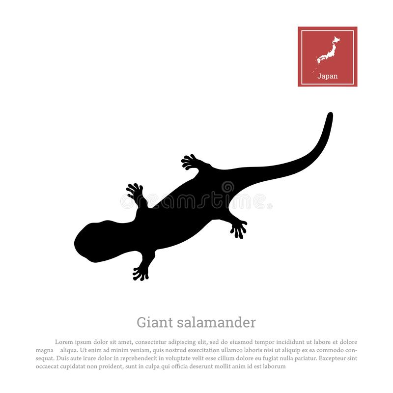 Black silhouette of a japanese giant salamander. On white background. Animals of Japan. Vector illustration vector illustration