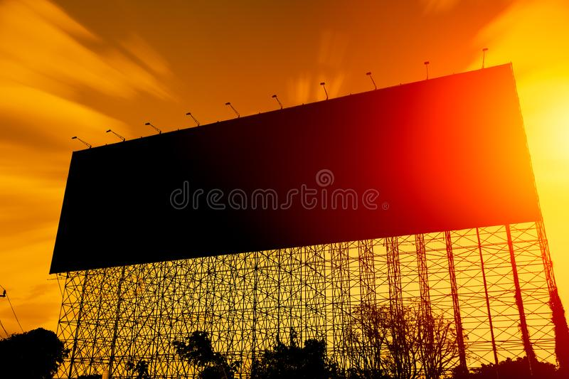 Black silhouette large billboard advertising space royalty free stock images
