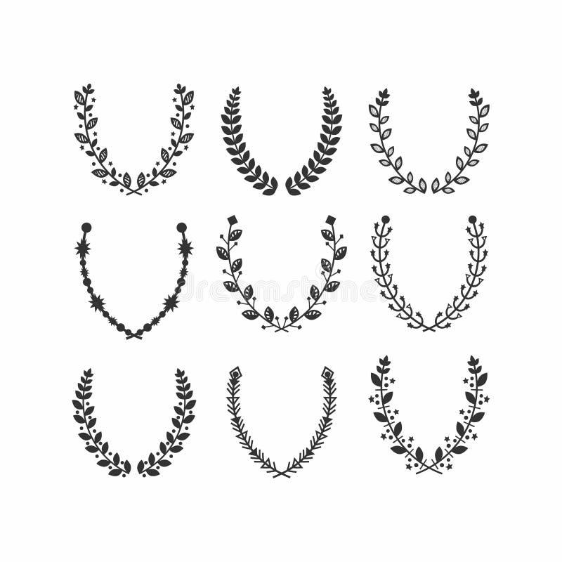 Black silhouette leaves pattern laurel wreath set on white royalty free illustration