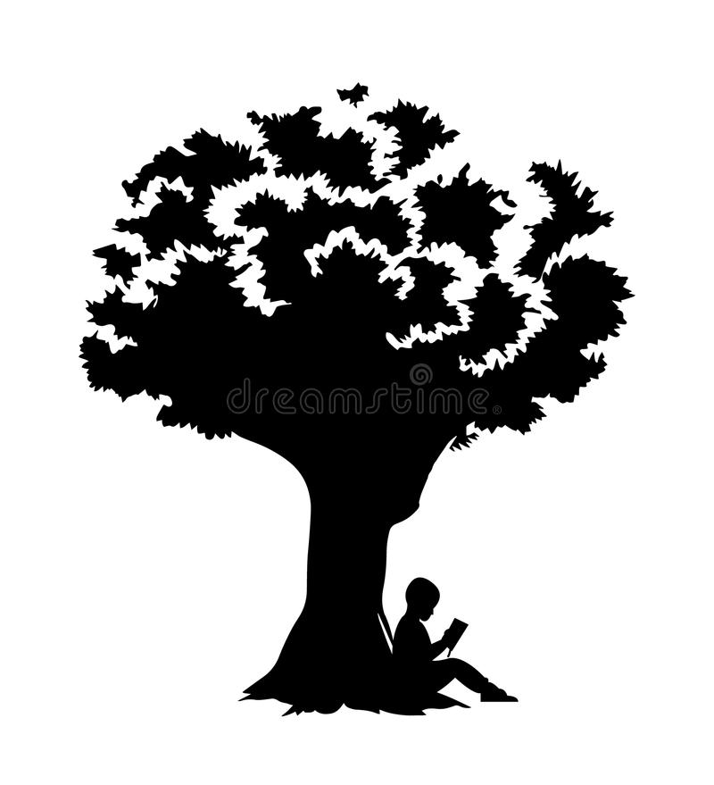 Child is reading under a tree Clipart Image