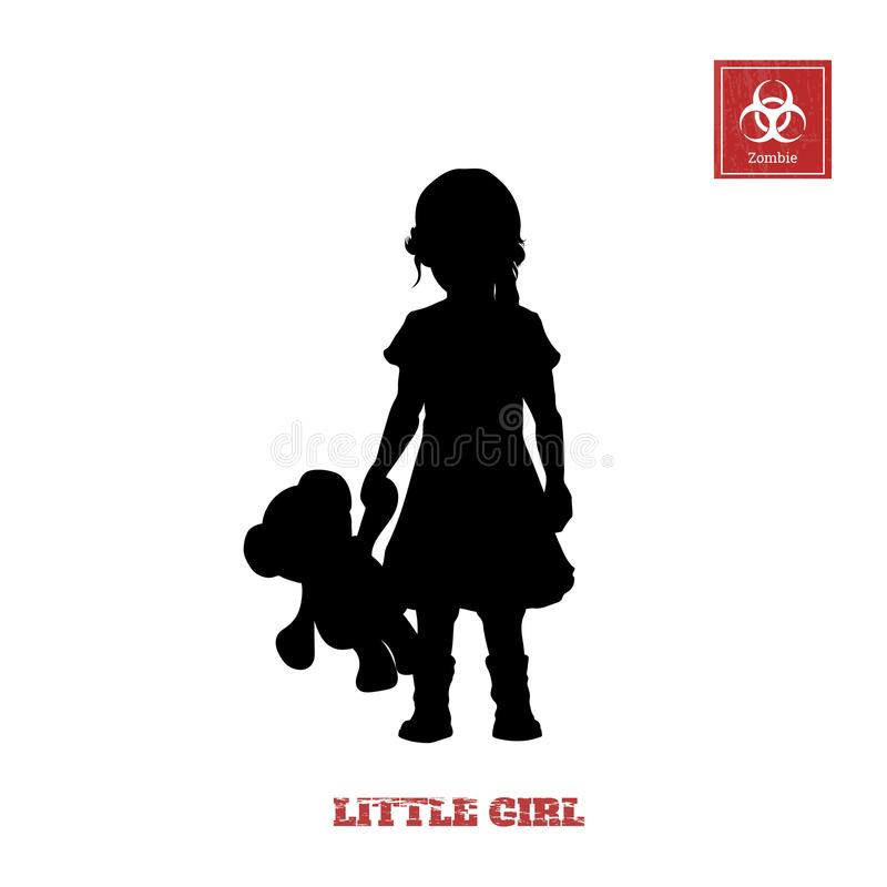Black silhouette of little girl on white background. Character for computer game or thriller royalty free illustration