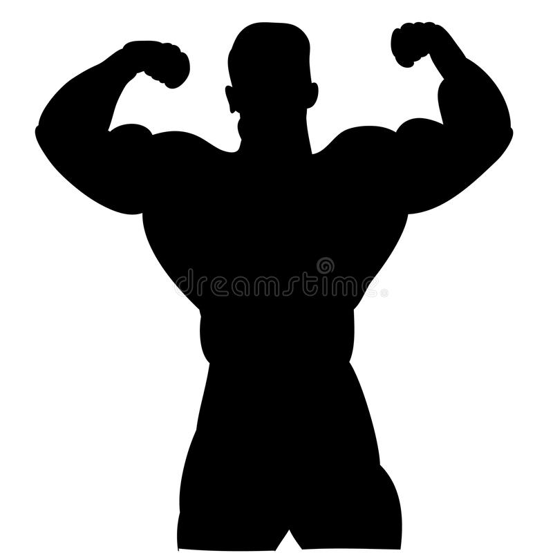 Download Black Silhouette Of A Male Bodybuilder On White Background Stock Vector