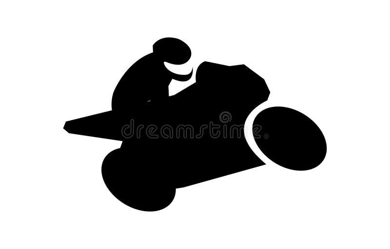 Black silhouette of a man on bike on white background vector illustration