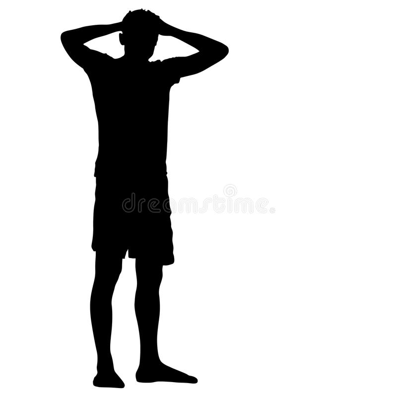 Free Black Silhouette Man Standing Holding Hands On Head, People On White Background Stock Images - 89895444