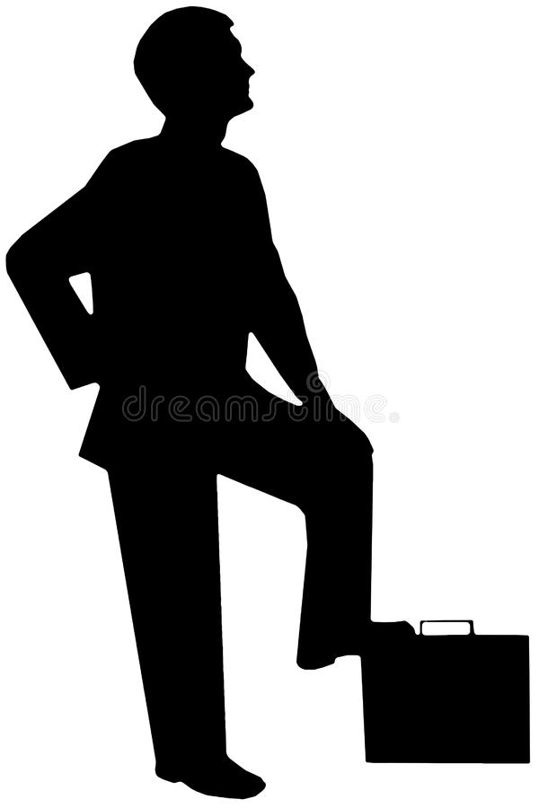 Black silhouette man on white stock photography