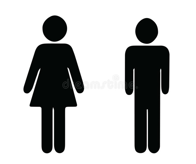 Black silhouette man and woman vector - wc toilet icons stock illustration