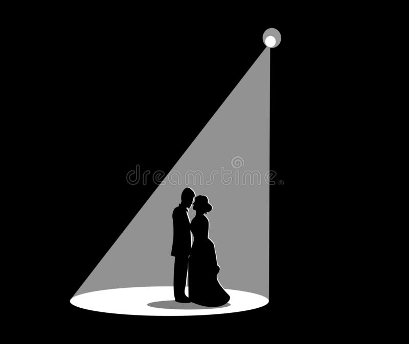 Black silhouette of a married coup black background royalty free illustration