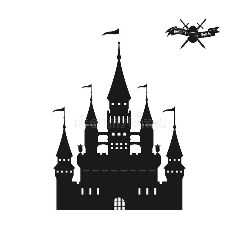 Black silhouette of a medieval castle. Isolated image of fantasy fortress on white background vector illustration