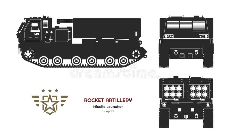 Black silhouette of missile vehicle. Rocket artillery. Side, front and back view. Drawing of military tractor. With jet weapon. Camouflage tank. Vector stock illustration