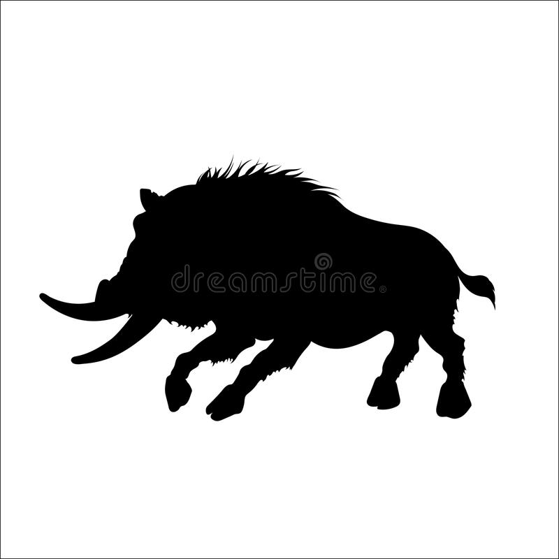 Black silhouette of moster wild boar on white background. Tattoo of fury pig vector illustration