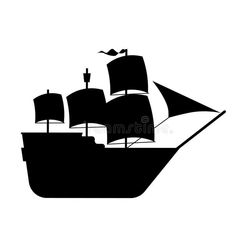 Free Black Silhouette Of A Sailing Ship. A Simplified Illustration Of A Galleon Ship. Vector Isolated Illustration On A White Stock Photography - 168203602