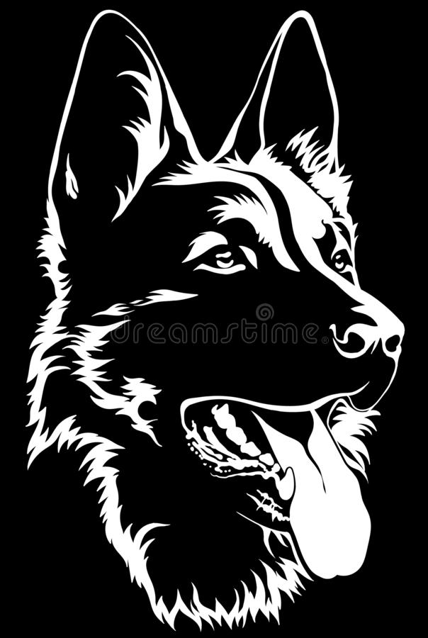 Free Black Silhouette Of A Sitting German Shepherd Black And White Stock Photography - 157936012