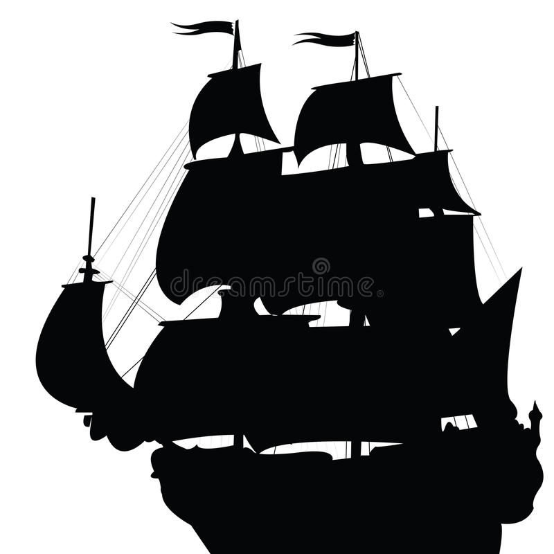 Free Black Silhouette Of Brigantine Royalty Free Stock Images - 13125669
