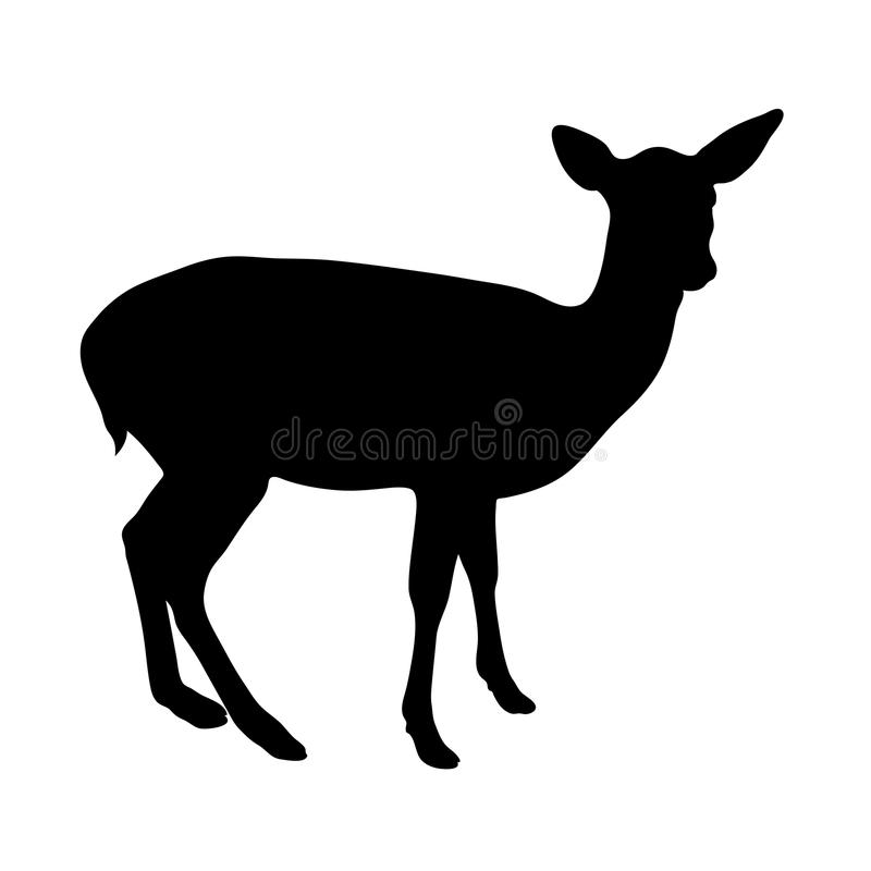 Free Black Silhouette Of Fawn On White Background Illustration Royalty Free Stock Photo - 102656175