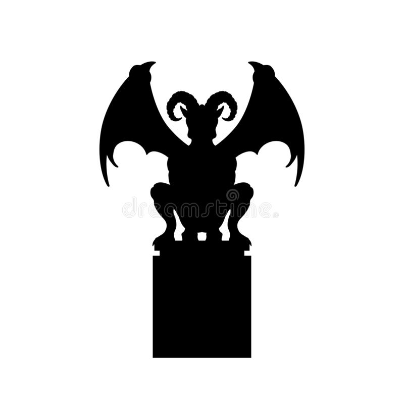 Free Black Silhouette Of Gothic Statue Of Gargoyle. Medieval Architecture. Front View Of Stone Cathedral Sculpture Royalty Free Stock Photography - 139067007