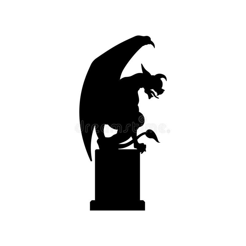 Free Black Silhouette Of Gothic Statue Of Gargoyle. Medieval Architecture. Side View Of Stone Cathedral Sculpture Royalty Free Stock Photos - 139067148