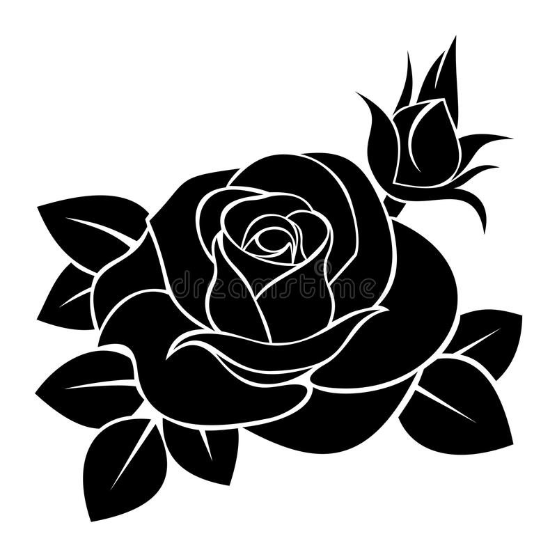 Free Black Silhouette Of Rose. Vector Illustration. Stock Images - 29668934