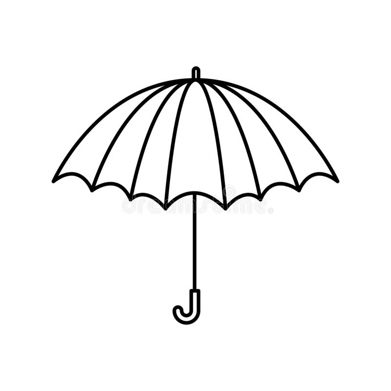 Black silhouette with opened umbrella vector illustration