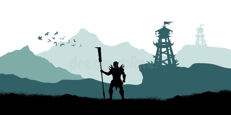 Black silhouette of orc warrior on background of tower. Fantasy landscape. Medieval panorama. Battle watchtower vector illustration