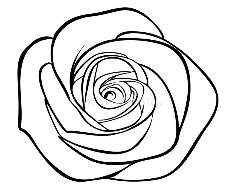 Black Silhouette Outline Rose, Royalty Free Stock Photography