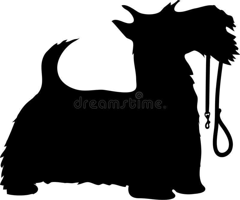 Scotty Dog and Leash. A black silhouette profile of a Scottie dog with it's leash held in it's mouth, tail up and eager to go for a walk royalty free illustration
