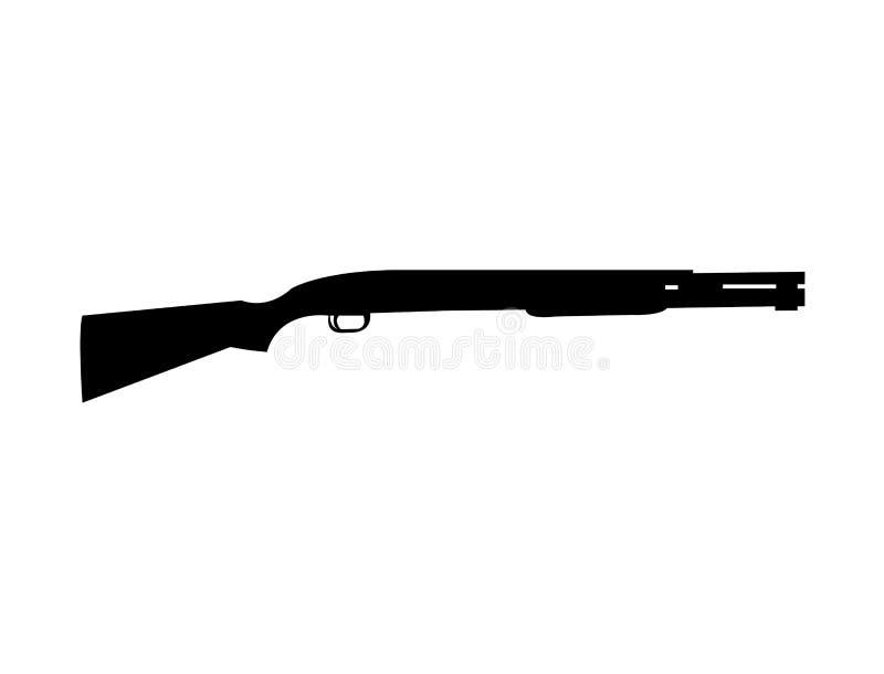 black pump action shotgun silhouette stock vector