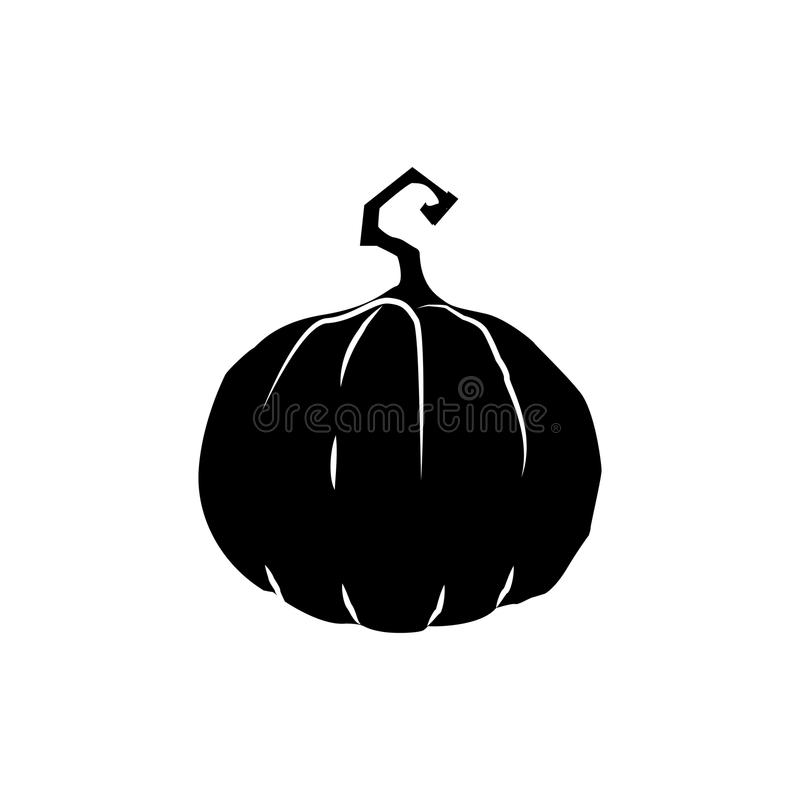 Black silhouette of pumpkin isolated on white background. Vector. Illustration, icon, clip art royalty free illustration
