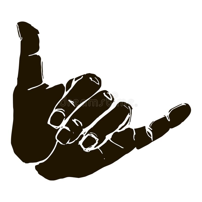 Free Black Silhouette Realistic Shaka Hand Gesture Icon Graphic Stock Photos - 101241363