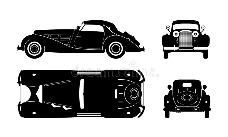 Black silhouette of retro car. Vintage cabriolet blueprint. Front, side, top and back view. Industrial isolated drawing vector illustration