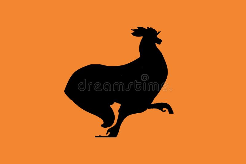 Black silhouette  of a rooster standing on one leg. Isolated on white. Illustration design. Chicken, bird, dark, element, art, creative, cartoon, character stock images