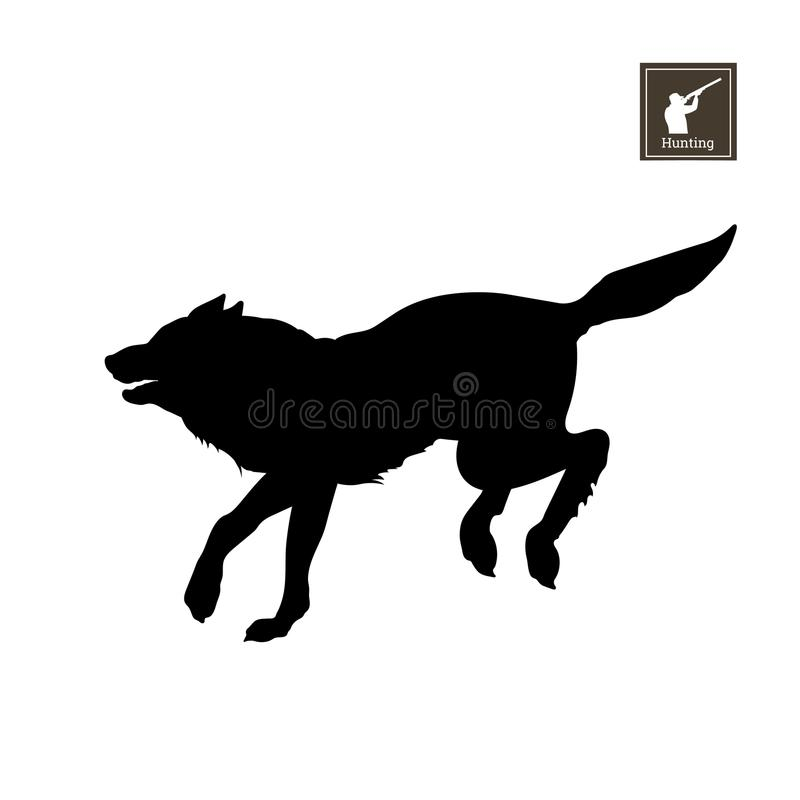 Black silhouette of running wolf on white background. Forest animals. Detailed isolated image. Vector illustration stock illustration