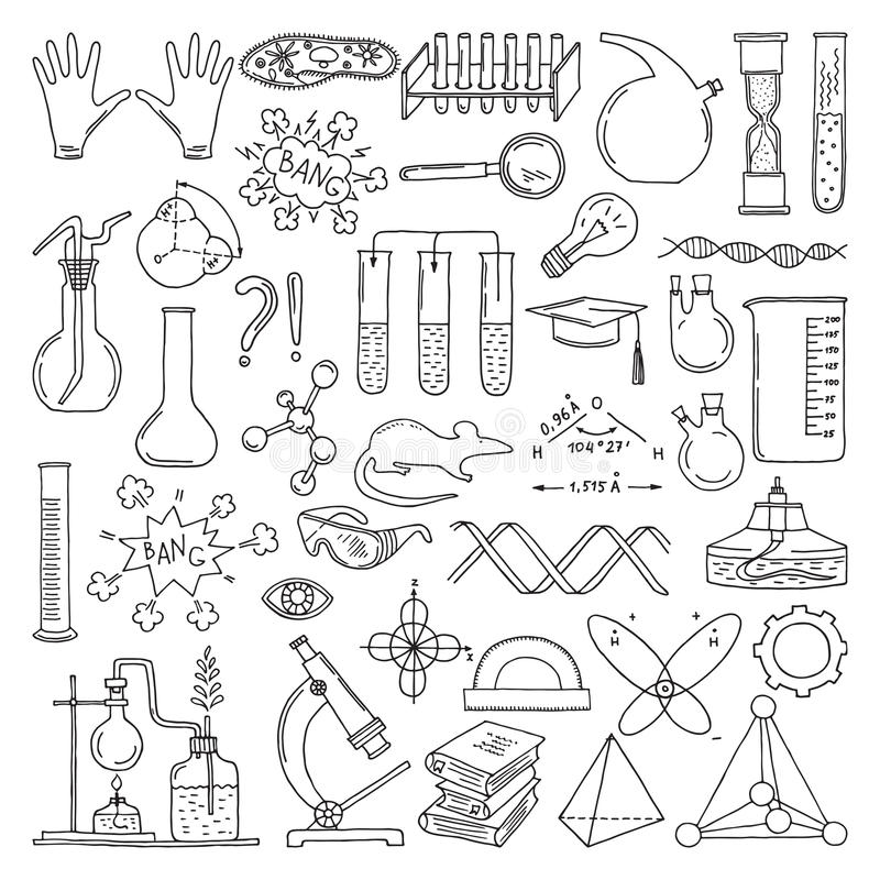 Black silhouette of scientific symbols. Chemistry and biology art. Education vector elements set stock illustration
