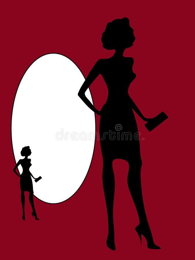Black silhouette of a slender woman vector, isolate. stock illustration