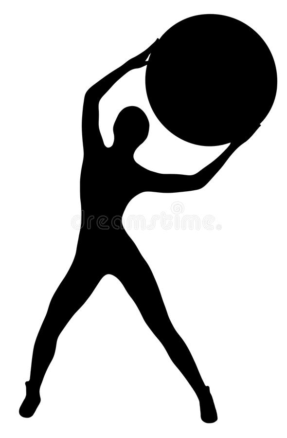 Black silhouette of slim sports woman with big ball royalty free illustration
