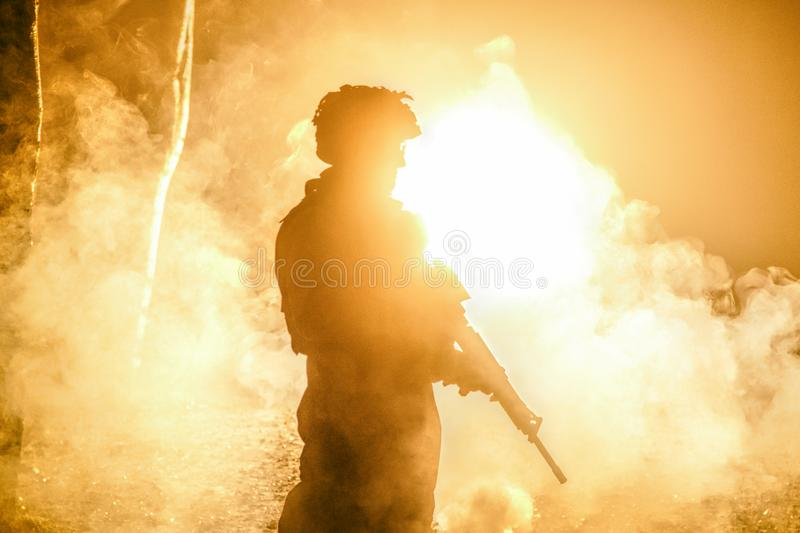 Black silhouette of soldier stock photo
