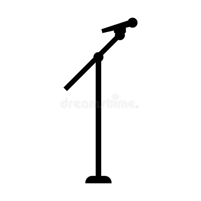 Black Silhouette Stage Microphone and Stand isolated on white background. Vector illustration for Your Design.  stock illustration