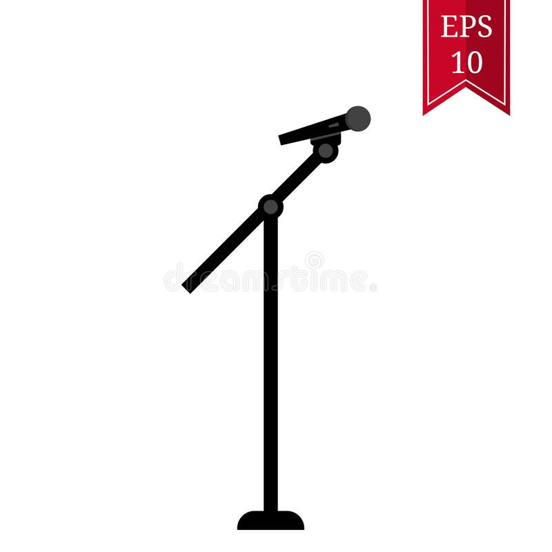 Black Silhouette Stage Microphone and Stand isolated on white background. Vector illustration for Your Design.  royalty free illustration