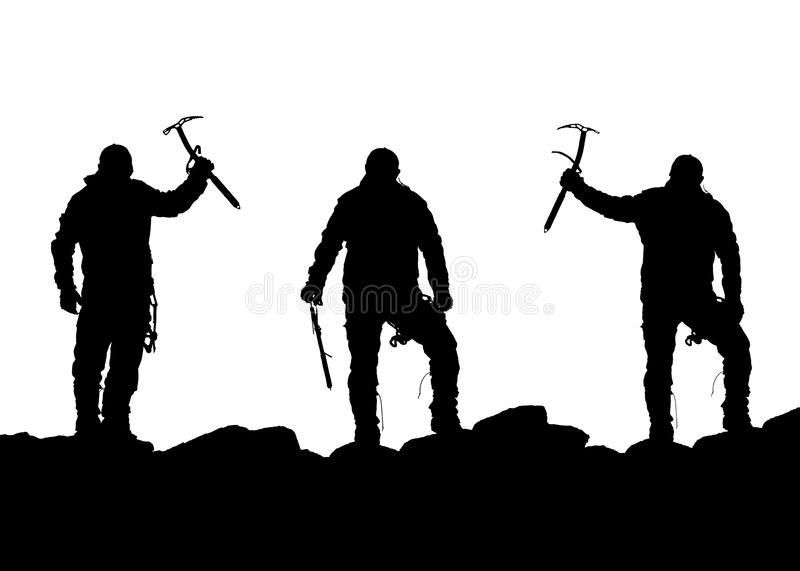 Black silhouette of three climbers with ice axe in hand vector illustration