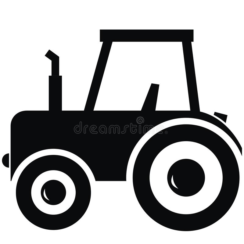 Black silhouette of tractor, simple vector illustration vector illustration