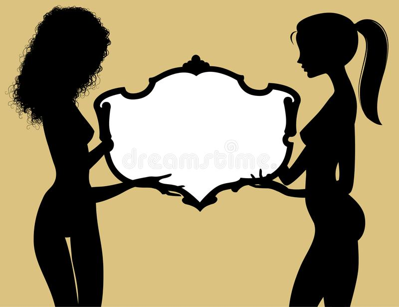 Black silhouette of two fine naked girls holding a vintage frame stock illustration