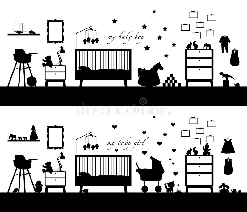 Black silhouette of two interiors of baby room both girl and boy. Black silhouette of two interiors of a baby girl's and baby boy's room with some furniture royalty free illustration