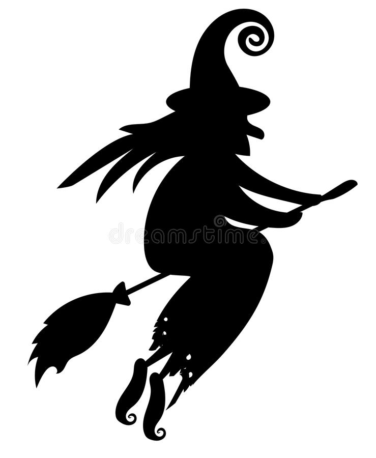 Black Silhouette Of A Witch Flying On A Broomstick
