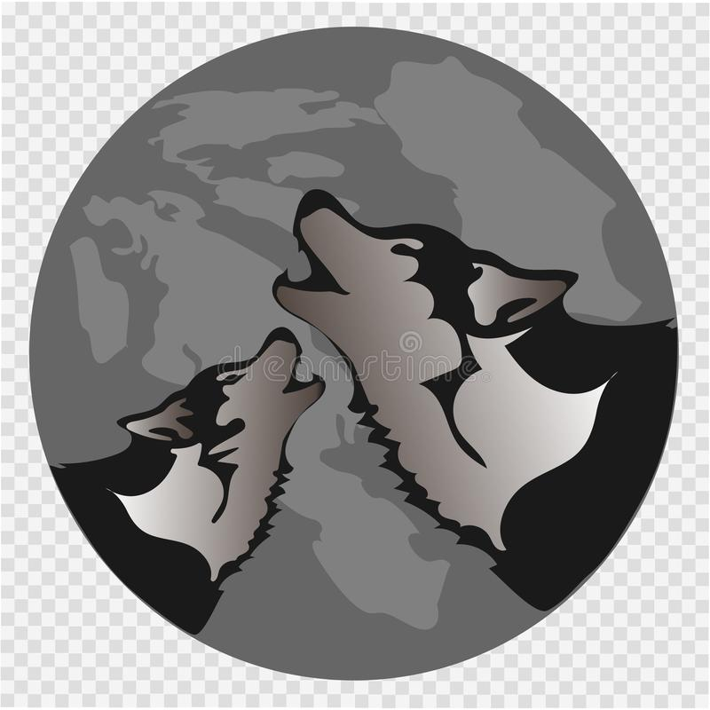 The black silhouette of a wolf on a background of the moon. The wolf howls. Vector illustration royalty free illustration
