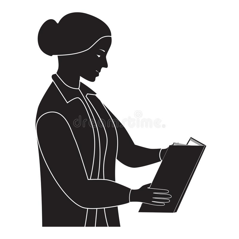 Black silhouette of the woman reading the book. Teacher stock illustration
