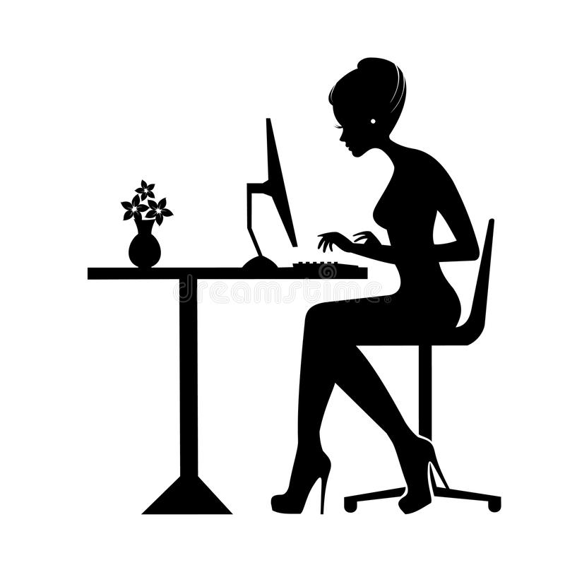 Black silhouette of a woman sitting behind a computer icon. Working woman. Businesswoman or student working at laptop, workplace concept stock illustration